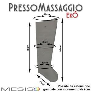 PressoMassaggio® EkÓ misure di ciascun gambale